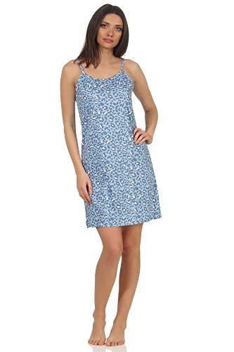 Ärmelloses Damen Spaghetti Träger Nachthemd mit Leoparden Muster - auch in Übergrössen, Farbe:blau, Größe2:40/42