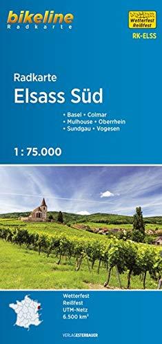 Radkarte Elsass Süd: Basel – Colmar – Mulhouse – Oberrhein – Sundgau – Vogesen, 1:75.000 (Bikeline Radkarte)
