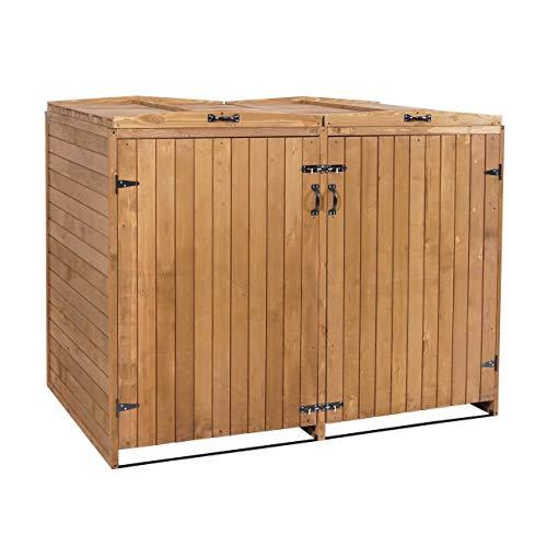 Mendler XL 2er-/4er-Mülltonnenverkleidung HWC-H74, Mülltonnenbox, erweiterbar 120x75x96 Massiv-Holz ~ braun