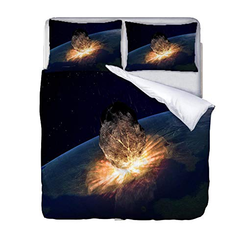 BSZHCT Duvet Cover Set Single bed Size Planet hit the earth Printed Bedding Set 100% Hypoallergenic Microfiber Quilt Cover and 2 Pillowcases Duvet Set Gift for Teens Girls boy adult