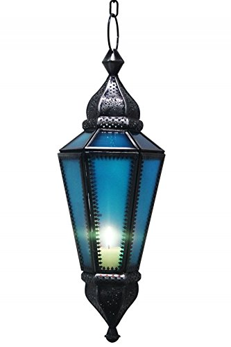 Orientalische Marokkanische Hängelaterne Laterne Ajda - Blau -