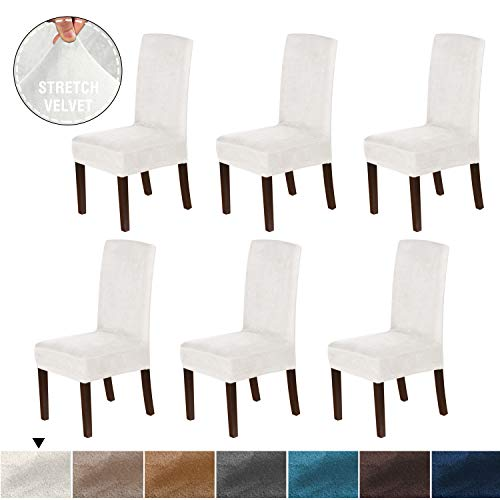 H.VERSAILTEX Original Velvet Stretch Dining Room Chair Covers Velvet Plush Removable Washable Kitchen Parson Chair Slipcovers for Hotel, Dining Room, Ceremony, Set of 6, Ivory