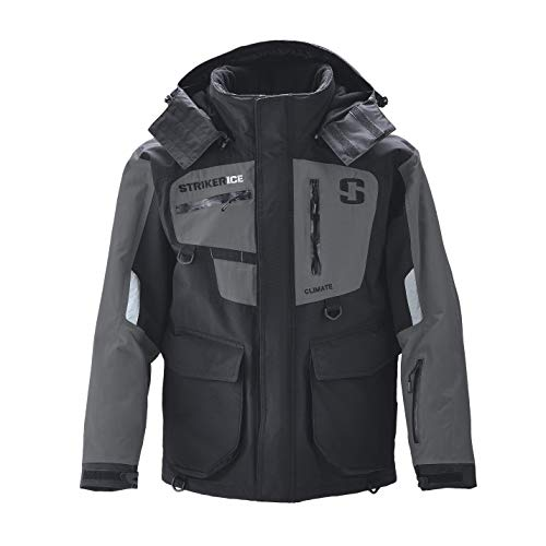 StrikerICE Men's Climate Jacket, Fishing Gear for Cold-Weather Conditions, Sureflote Technology, S, Black/Gray
