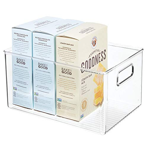 mDesign Caja organizadora con asas – Organizador de frigorífico alto para almacenar alimentos – Contenedor de plástico para los armarios de la cocina o la nevera – transparente