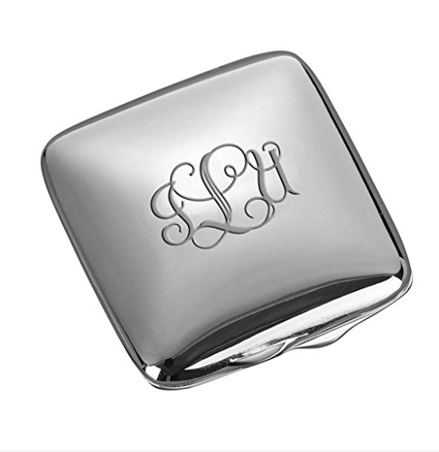 Personalized Silver Square Compact Mirror Engraved Free