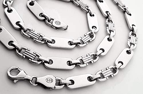 Details zu Plattenkette 925 echt Silber 6,60 mm 70 cm Steigbügelkette Neu MASSIV Hals kette