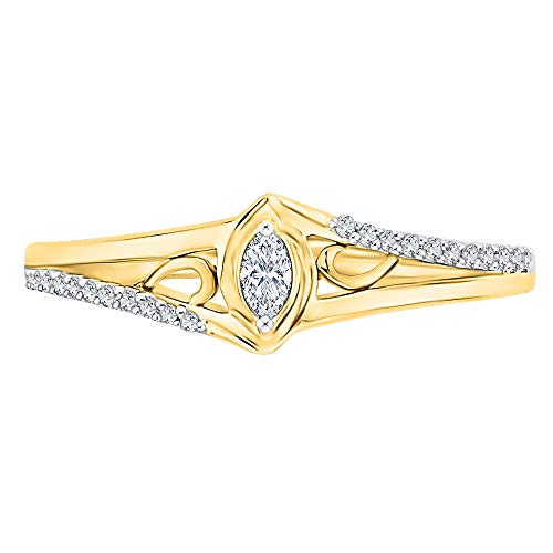 KATARINA Anillo de moda de diamantes de talla marquesa en oro amarillo de 14 k (1/6 quilates, J-K, SI2-I1) (tamaño 9.5)