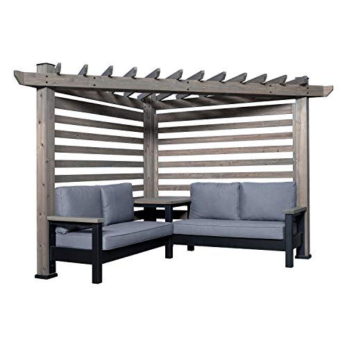 Backyard Discovery 2004573 Catalina Cabana Pergola with Conversation Seating, Cedar and Slate