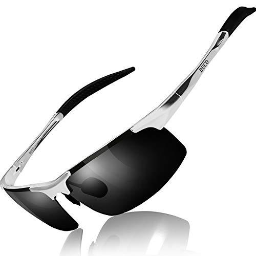 Duco Gafas de sol deportivas polarizadas para hombre con ultraligero y marco de metal irrompible, 100% UV400-8177S (Lente gris marco de plata)