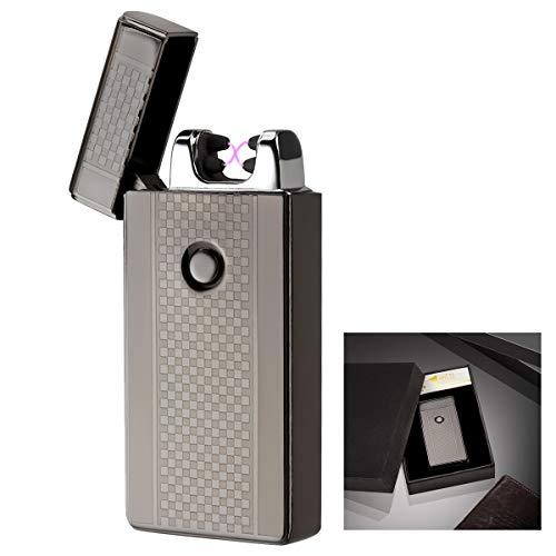 Akunsz Accendino Elettrico USB a Doppio Arco Accendino Antivento Ricaricabile USB Senza Gas Fiamma, Sicurezza e Buon Regalo per Fumatori, Nero Opaco