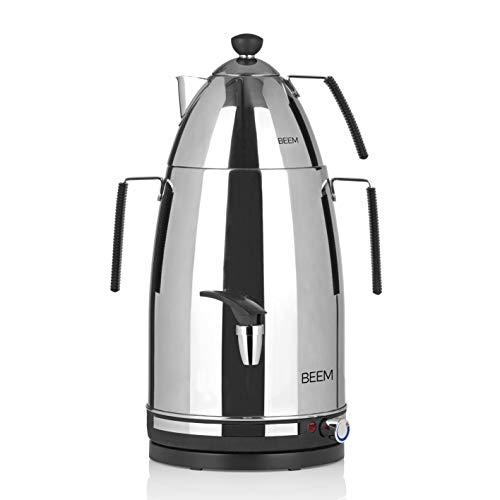 BEEM Samowar Mr. Tea - 4 l | Teekocher elektrisch | Edelstahl | 2.500 W | 4 l Wasserbehälter | 1 l Teekanne mit Sieb | Privat, Hotel & Gastro geeignet