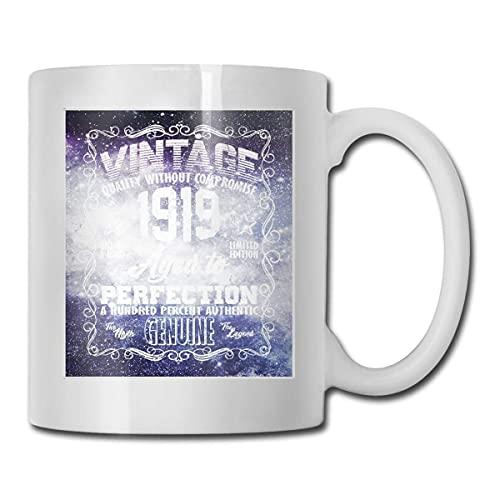 N\A 100 cumpleaños Vintage 1919 Envejecido a la perfección Tazas de café genuinas, Regalos de cumpleaños para mamá, papá, Esposa, Esposo, Hijas, Abuela, Amigo