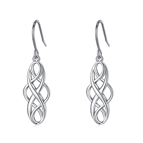 LAIMALA 925 Silver Earrings Celtic Knot Dangle Earrings Necklace Good Luck Polished Irish Jewelry Sets for Women Girls Christmas Gifts for women
