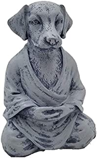 RK Collections Dog Statue Zen Yoga Relaxed Pose Buddha Meditation Figurine in Natural Stone Finish