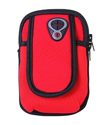Bigood Sport Armband Sac Bras pour iPhone 6s Smartphone Téléphone Portable Joggong Rouge