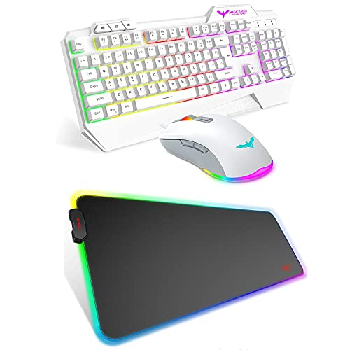 Havit White Rainbow Backlit Wired Gaming Keyboard Mouse Combo and Havit RGB Gaming Mouse Pad Soft Non-Slip Rubber Base Mouse Mat for Laptop Computer PC Games