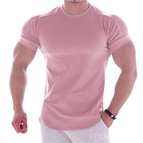MAIKANONG Men's Compression Shirts Workout Muscle Cool Dry Short Sleeve Skins Tee (Pink,Medium)