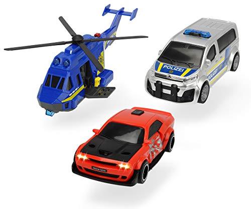 Dickie Toys 203715011 Police Chase, Polizeiauto, Spielzeugauto, Helikopter, Spielset, 3er Set mit Licht & Sound, Mehrfarbig