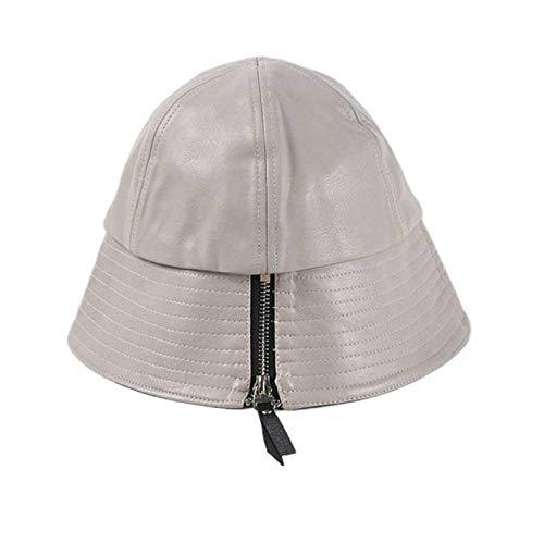 GLGSHOULIAN Chapeau De Pêcheur Femme,Tempérament Sauvage Artificial White Leather Zipper Décoration Bucket Cap Solid Color Lady Leisure Adjsutable Foldable Hip Hop Dome Fisherman Hat