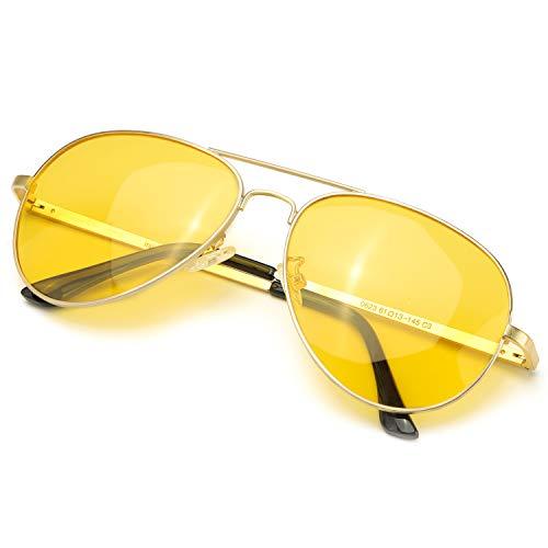 Herren und Damen Nachtfahrbrille mit Metall Rahmen Nachtsichtbrille Autofahren Anti-Glanz Polarisiert Pilotenbrille Sonnenbrille 100% UVA/UVB Schutz (Gold Rahmen Gelbe Linse)