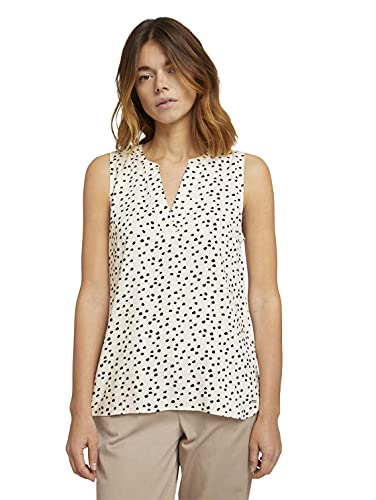 TOM TAILOR Denim Damen 1027953 Tunic Bluse, 23937-Creme Leo Dot Print, S
