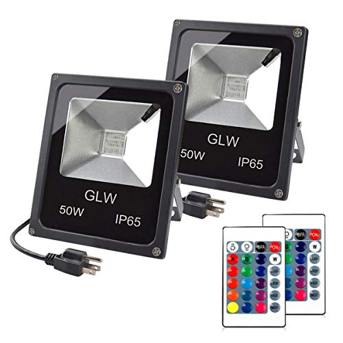 GLW LED RGB Flood Light, 50W Outdoor Color Changing Lights with Remote Control, IP65 Waterproof Dimmable Wall Washer Light, Flood Lamp 16 Colors 4 Modes with US 3-Plug(2 Pack)
