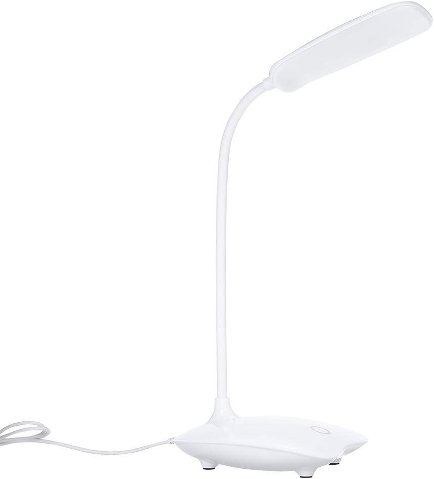 Ultraligero Escritorio LED Lámpara de noche Control giratorio flexible giratorio 360 ° Nivel 3 Regulable Carga por USB Luz de mesa para el cuidado de los ojos para estudiar Lectura Trabajo