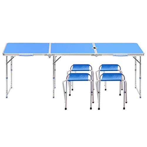 Tables de pique-nique 1,8 m de long facile à plier table pliante en aluminium table extérieure avec 4 tabourets (Color : Blue)