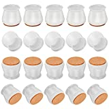 20 Packs Silicone Chair Leg Floor Protectors, Chair Protectors for Wooden Floors, Chair Leg Caps with Anti-Slip Felt Pads, Chair Protection Legs for Scratches & Noise, Size of 1.1-1.75 inch(White)