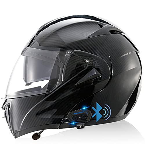 ABDOMINAL WHEEL ECE Homologado Casco de Moto Modular Bluetooth Integrado con un Micrófono Incorporado Anti Niebla Visera Doble para Adultos, Mujeres y Hombres Casco Moto Modular H1,S=55~56CM