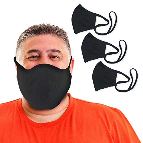 BLU HORN Face Mask Adult XL (Extra Large) Jersey Cotton (3-Pack) Face Mask with Filter Pocket - Adjustable loops- Washable, Breathable, Reusable, Indoor, Outdoor (Black)
