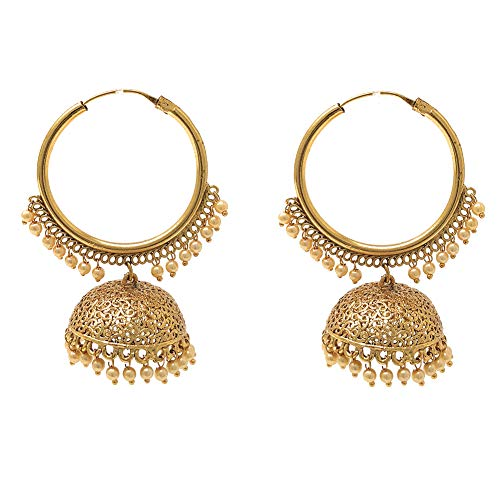 Pakistani Indian Ethnic Gold Plated Hoop Chandelier Jhumka Earrings in Tiny White Pearls