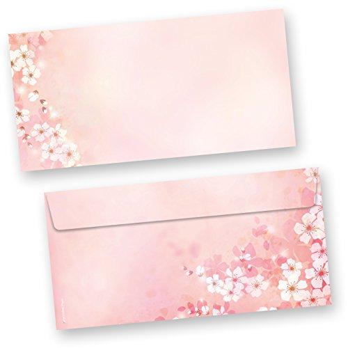 Briefumschläge Frühling Kirschblüten (250 Stück) beidseitig bunt bedruckte DIN lang Umschläge