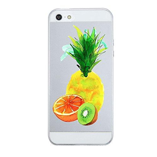 Alsoar Compatibile per iPhone SE Case, iPhone 5, iPhone 5S Case, Sottile e Leggera Silicone Trasparente Anti Scivolo Graffi Morbido TPU Design Creativo Cover periPhone 5s / 5 / SE (Ananas)