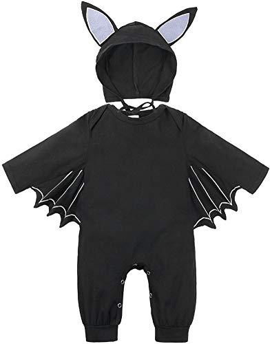 FANCYINN Unisex Halloween Baby Strampler Kleinkind Baby Halloween Fledermaus Cosplay Kostüm Overalls Hut Outfits Set 6-12 Monat