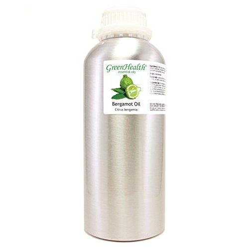 GreenHealth Bergamot Essential Oil – 32 fl oz (946 ml) Aluminum Bottle w/Plug Cap – 100% Pure