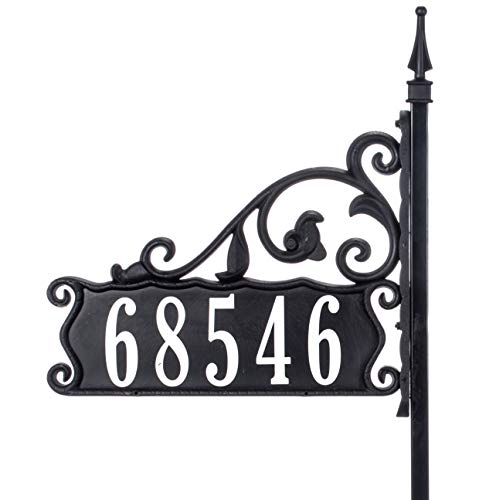 Address America Extra Tall 58' Boardwalk Reflective 911 Home Address Sign for Yard - Custom Made Address Plaque - Wrought Iron Look Exclusively