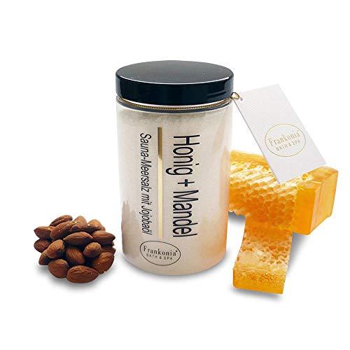 Sauna Salz Peeling – Honig Mandel 400g - Meersalz m. Jojobaöl Vitamin E Body Scrub – Dusch- und Körperpeeling für alle Hauttypen – vegan – ohne Parabene