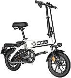 Bicicletas Eléctricas, Adultos Bicicleta eléctrica Plegable Ebikes Ebike Ligero 350W 48V 18.8Ah con 14 Pulgadas de Pantalla LCD Tire & con Guardabarros,Bicicleta (Color : White, Size : Range:60km)