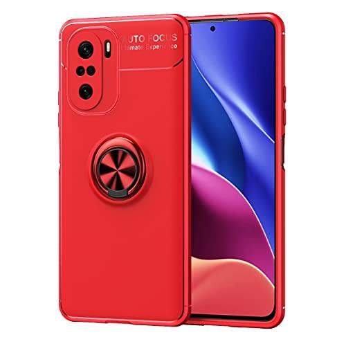 Carcasa de telefono Para Xiaomi Redmi K40 / Redmi K40 Pro Case, para Xiaomi Redmi K40 Pro + Funda Soft TPU a prueba de golpes Rotativo Metal Anillo Magnético KickStand Caja protectora Anti-Otoño Funda