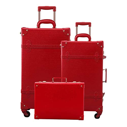 Girl Cute Trolley Suitcase retro PU Trunk Rolling luggage Spinner Luggage Set (12'+20'+26' wedding red, 12'+20'+26')