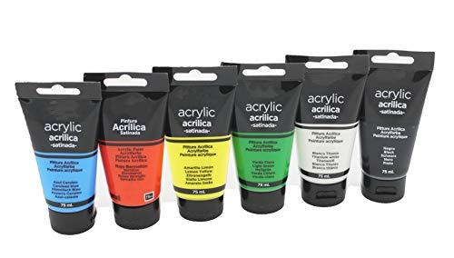 Pack de pintura acrílica. Tubos de pintura acrílica profesional (PACK 6, 75ML)