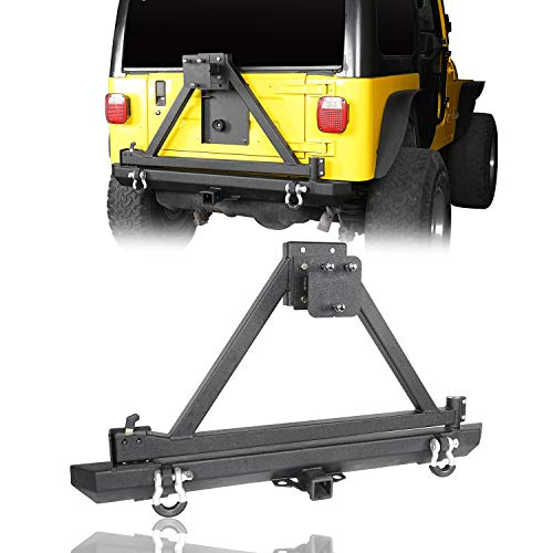 Hooke Road Wrangler TJ Rear Bumper w/Tire Carrier & D-Rings Compatible with Jeep Wrangler TJ 1997-2006