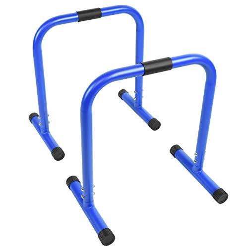 GORILLA SPORTS® Dip Barren 2er-Set 46 x 39 x 30 cm – Push Up Stand Bar Parallettes Blau bis 200 kg belastbar
