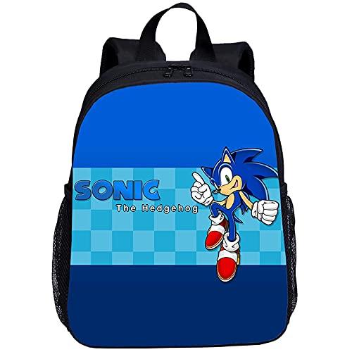Mochila Mini Mochila para Niños Niños Niñas Anime Sonic Impresión 3D Bolsa Escolar 13Inch Bookbag Kindergarten Satchel Mochila Escolar
