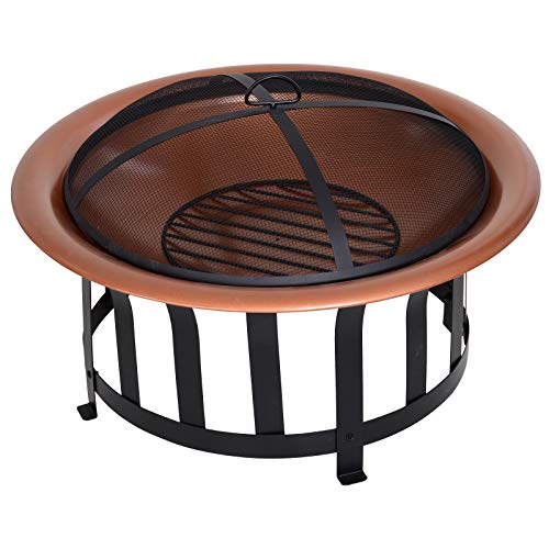Outsunny Copper-Colored Round Metal Wood Fire Pit Bowl with Black Ornate Base, Poker, Mesh Screen for Ember Protection