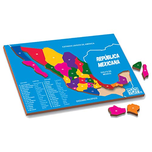 TEACH PLAY Rompecabezas de República Mexicana de Madera