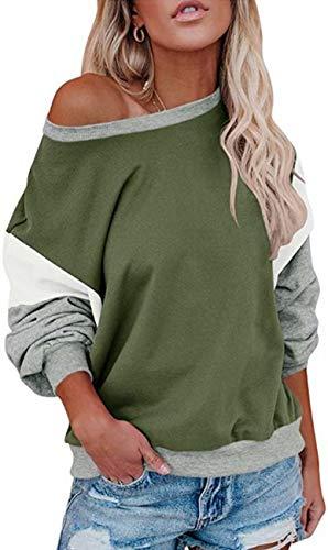 Yidarton - Sudadera de manga de murciélago para mujer, estilo casual, cuello redondo, túnica Verde verde oliva S