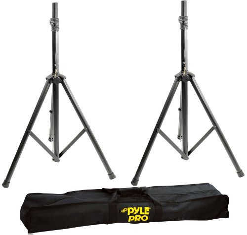 Pyle Universal Speaker Stand Tripod - Height Adjustable 8'+ ft Extra Tall Sound Equipment Mount For Speakers w/ 35mm Compatible Insert - Perfect for Home, On-Stage or In-Studio Use - PSTK103 (Pair)