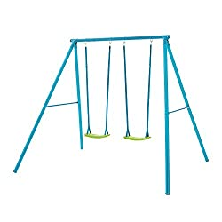 A robust double swing set in attractive blue and lime colourway 60 kg maximum user weight and supplied with ground stakes that must be concreted in Suitable for children from 3-12 years, full instructions included All in one box and easy to assemble ...